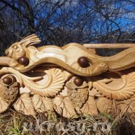 """Резной деревянный карниз для штор """"Золотая осень. Береза"""""""