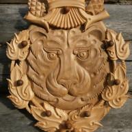 """Панно деревянное """"Амурский тигр""""."""