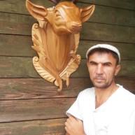 Голова оленя из дерева с натуральными рогами