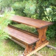Стол и лавки из массива кедра