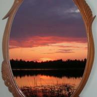 "Зеркало деревянное ""На заре"""