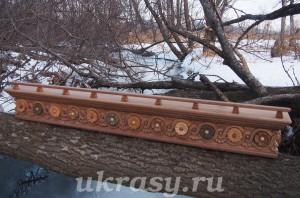 """Деревянный карниз Для штор """"Цветочная поляна"""""""