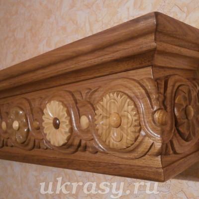 """Резной деревянный карниз  для штор""""Цветочная поляна""""."""