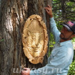 """Резное деревянное панно """"Амурский тигр"""""""