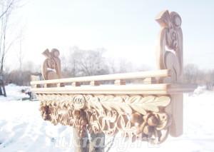 Деревянная резная полка Виноградная лоза