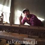 """Деревянная резная полка для книг """"Виноградная лоза"""""""