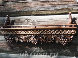 """Полка под иконы """"Виноградная лоза""""  с декоративной веревочкой"""