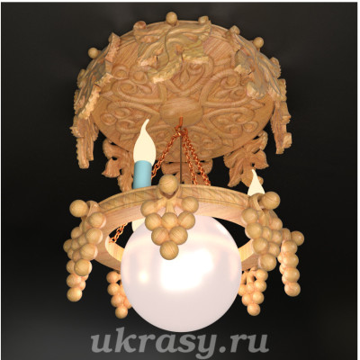 """Резная деревянная люстра """"Виноградная"""""""