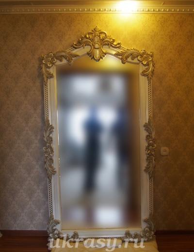 """Большое резное деревянное зеркало """"Цветы Амура"""""""