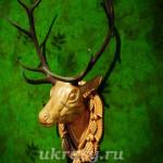 Деревянная голова оленя с изюбринными (большими) рогами