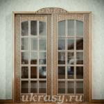 Внутрикомнатная деревянная резная дверь и наличник (эскиз)