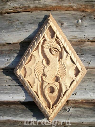 Резное деревянное панно - «Дракон Ананта»