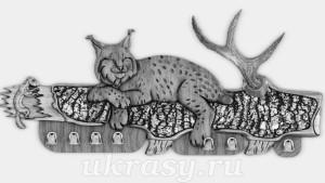 """Вешалка из ценных пород древесины """"Амурская рысь"""""""